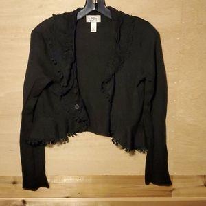 Vintage LOFT black lace trim cardigan